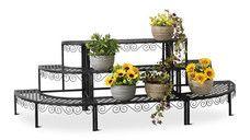 Gardenline Iron Decorative Flower Steps Outdoor Lawn Plant Stand Flower Decorations