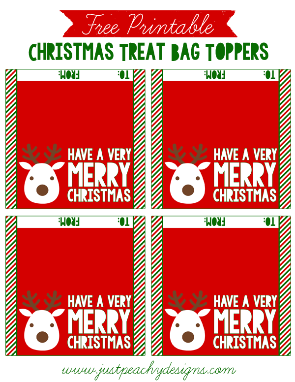 picture about Christmas Bag Toppers Free Printable identified as Only Peachy Types: Cost-free Xmas Take care of Bag Toppers
