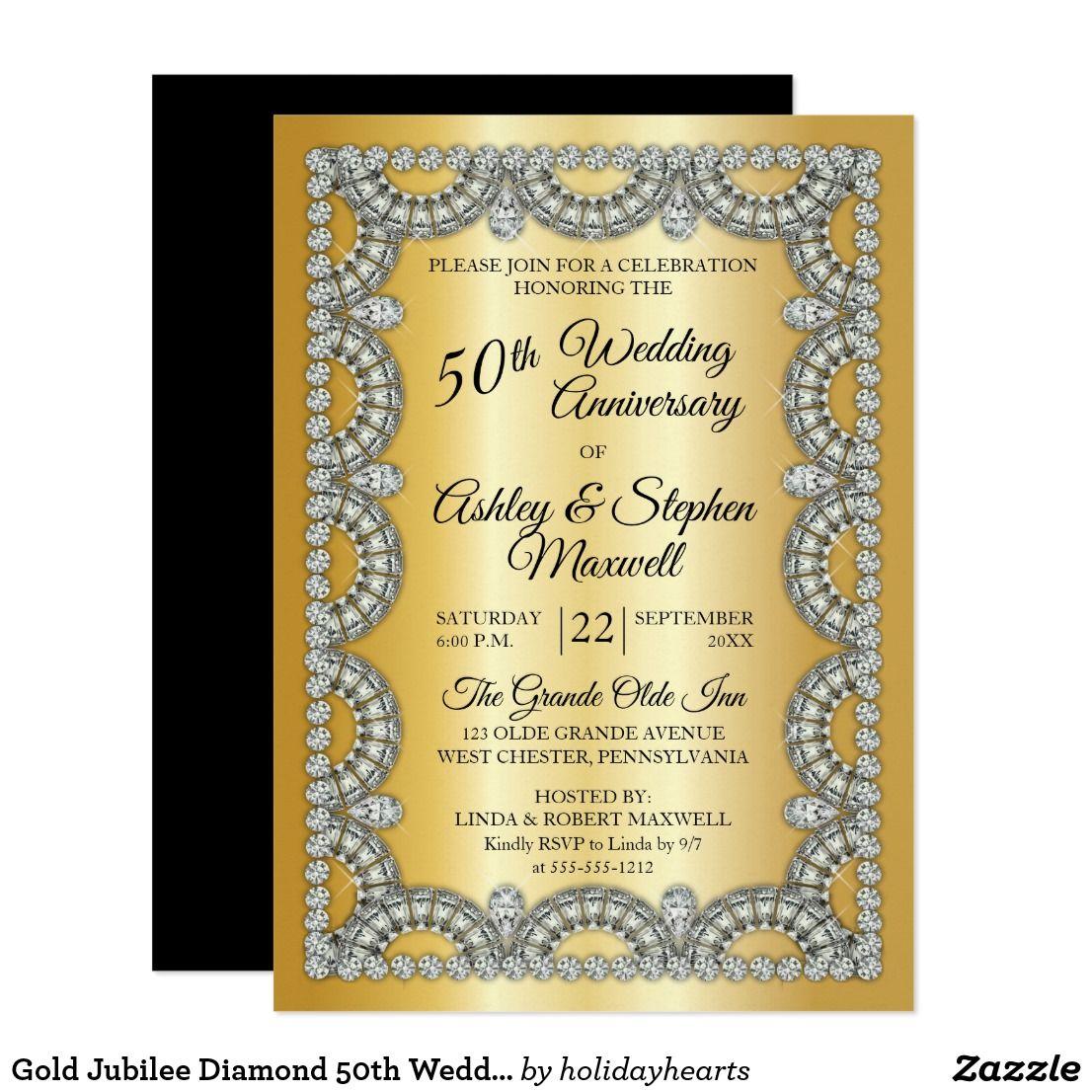 Gold Jubilee Diamond 50th Wedding Anniversary Invitation Zazzle