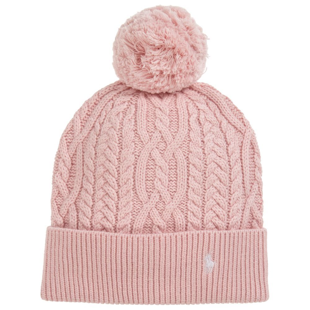 15c688651 Girls Pink Knitted Hat for Girl by Polo Ralph Lauren. Discover more  beautiful designer Hats for kids online