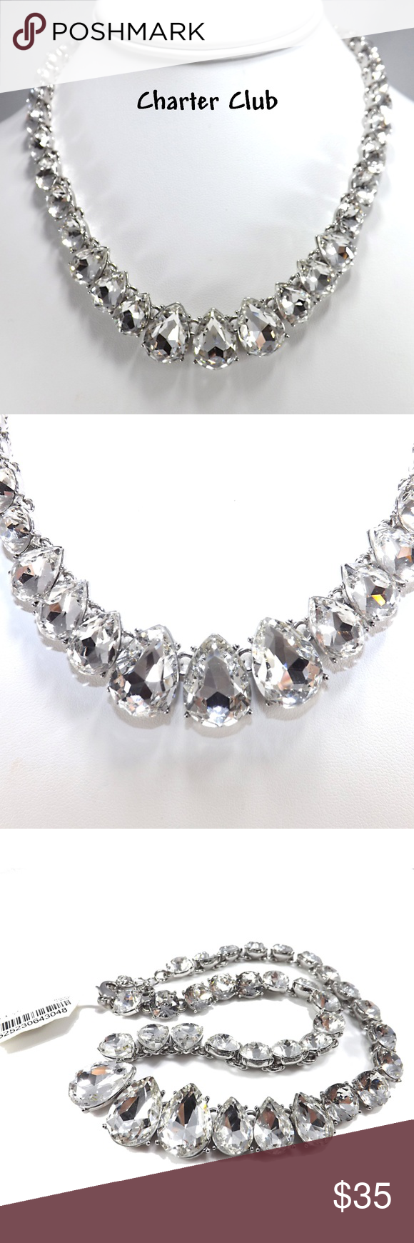 bbe3689bc7a07 Charter Club Clear Rhinestone Silver Tone Necklace *New With Tags ...