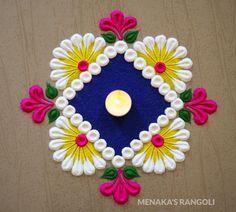Beginners Easy And Cute Rangoli Design | Simple Kolam Design | Simple Muggulu