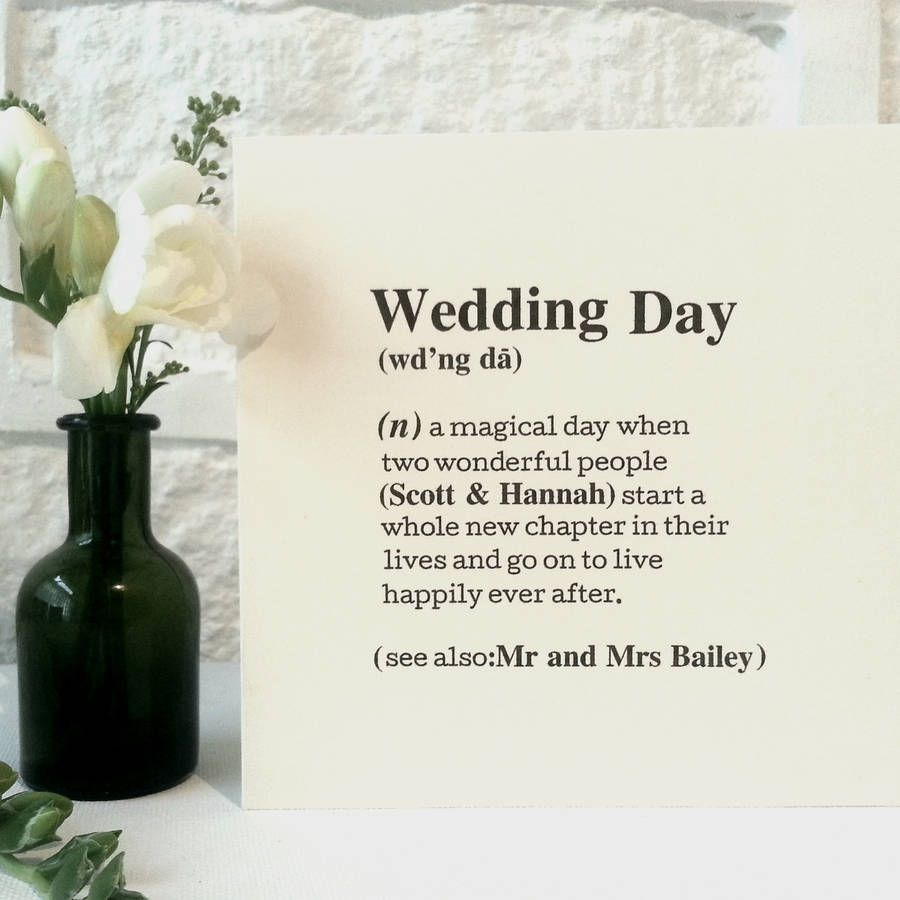 Personalised Wedding Day Definition Card Personalized Wedding Wedding Cards Cards