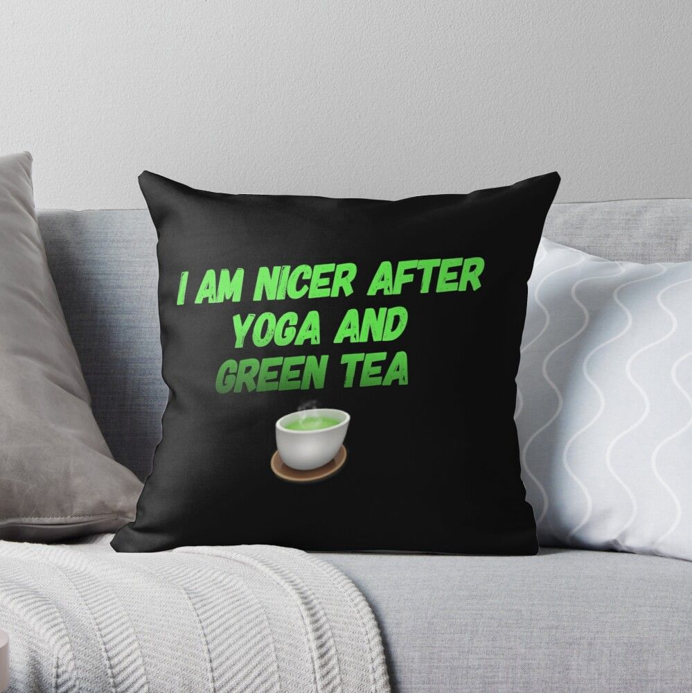 Green Tea Yoga' Throw Pillow