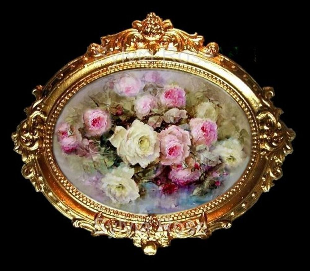 TWO BEAUTIFUL MINIATURE GLASS CAMEO  PICTURES FOR DOLLS HOUSE-by SYLVIA ROSE.
