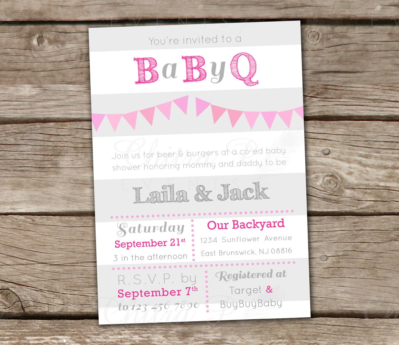 Baby Q Shower Invitations - Printed, Pink Grey White Girl BBQ ...