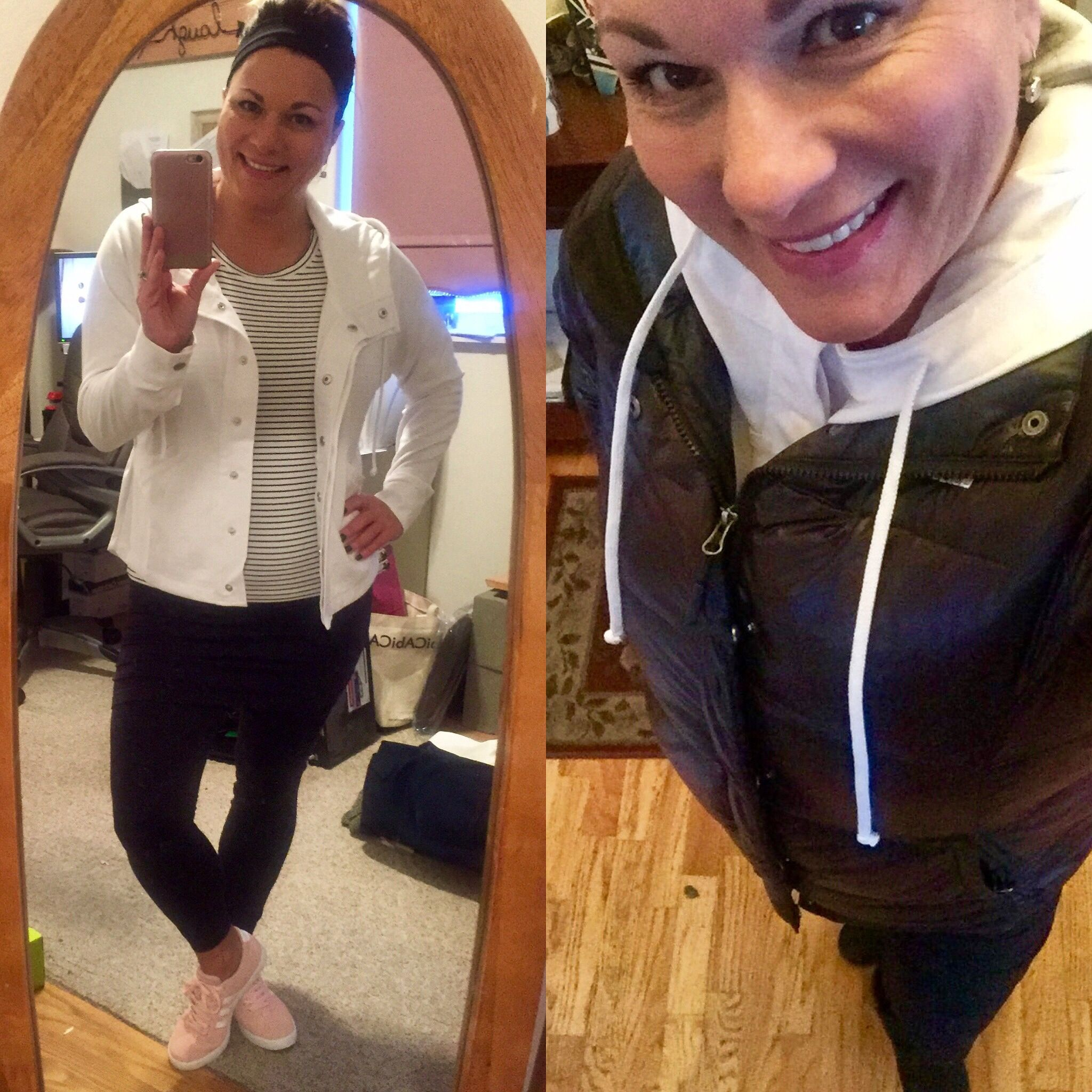 I'd love to say if you see me out and about today I'd look all springy like the left side of pic but since it's -13 on my car now, I'll look the right side...brrr!! #cabiclothing #sohohoodie #zipcroptop #spacedyemleggings #adidasneo #northface #ugg #carpenterallin #jenesaisquoi