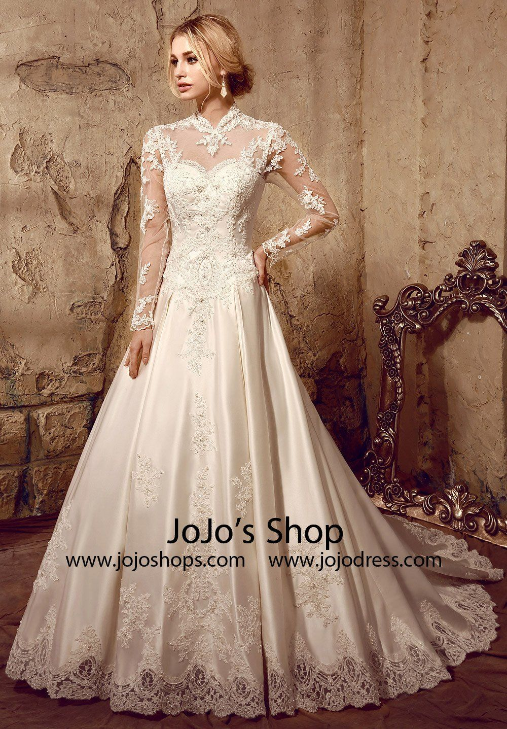 Long Sleeves Victorian Style Modest Lace Wedding Dress | HL1009 #romanticlace