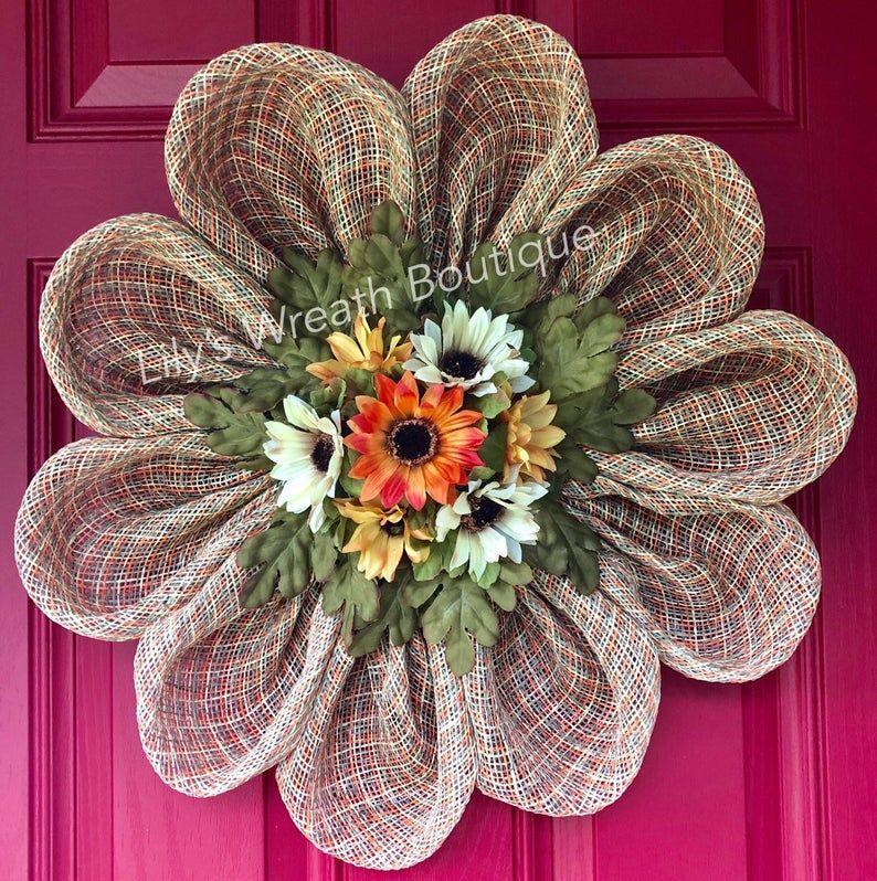 Photo of Daisy Wreath, Gerbera Daisy Wreath, Fall Front Door Wreath, Fall Burlap Wreath, Fall Farmhouse Wreath, Housewarming,Fall Plaid Burlap Wreath
