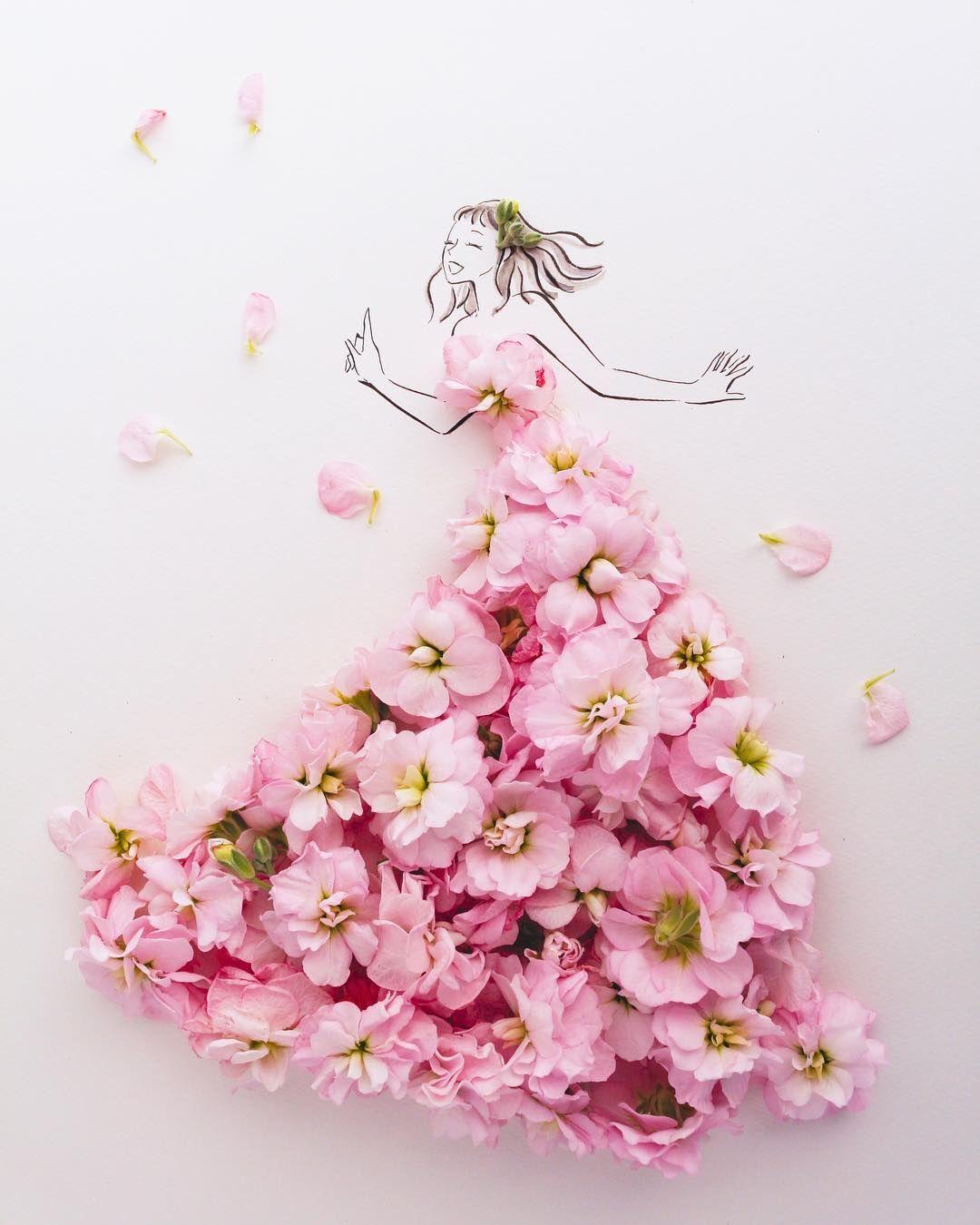 葉菜桜花子さんの花ドレスとクラウディアの夢のコラボ Flowery Fieldsを発表 Dressy ドレシー Byプラコレウェディング 花 イラスト 花 壁紙 ピンクアート