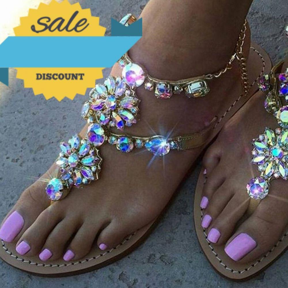 Women Rhinestones Chains Gladiator Flat Sandals Price  31.98   FREE Shipping e9ec0b51c359