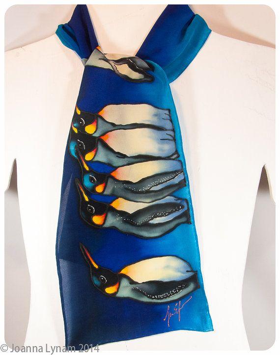 Penguin Silk Scarf. Emperor Penguins. 8x52 crepe by SirenSilks