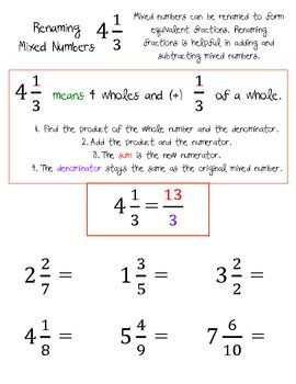 Improper Fractions And Renaming Mixed Numbers Worksheets