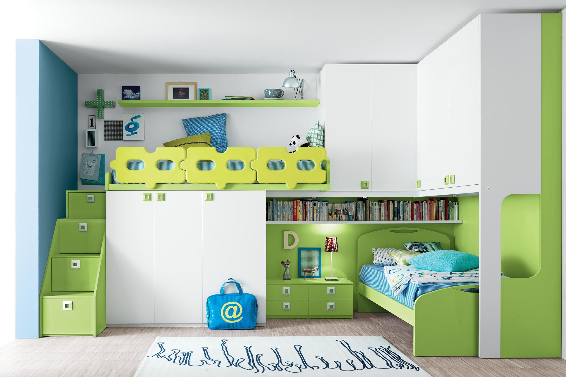 shared kids room design with single bed and cars motive bedding