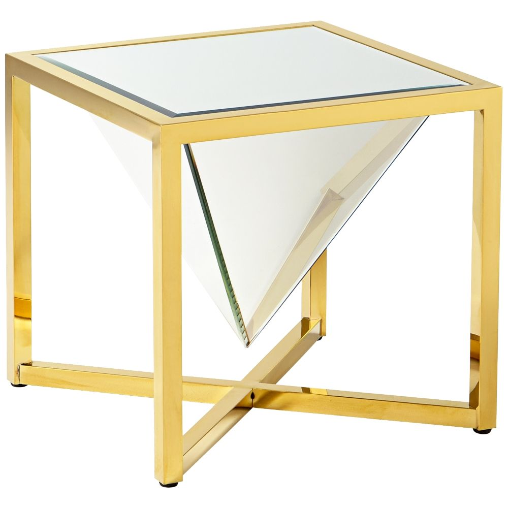 Titan sculptural mirrorglass brass square side table style