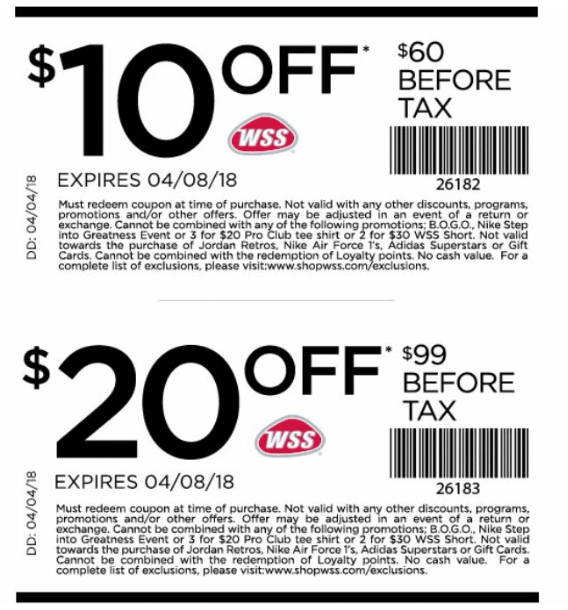 graphic about Big 5 $10 Off $30 Printable identify ShopWSS Coupon: $10 Off $60, $20 Off $99 (Within-Shop