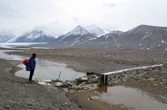 Scientist Diane McKnight, lead investigator of the McMurdo Dry Valleys Long Term Ecological Research program, checks out one of a dozen gauges installed on the streams that flow through the ice-free valleys in the summer. The McMurdo LTER program has been monitoring the region for 20 years.