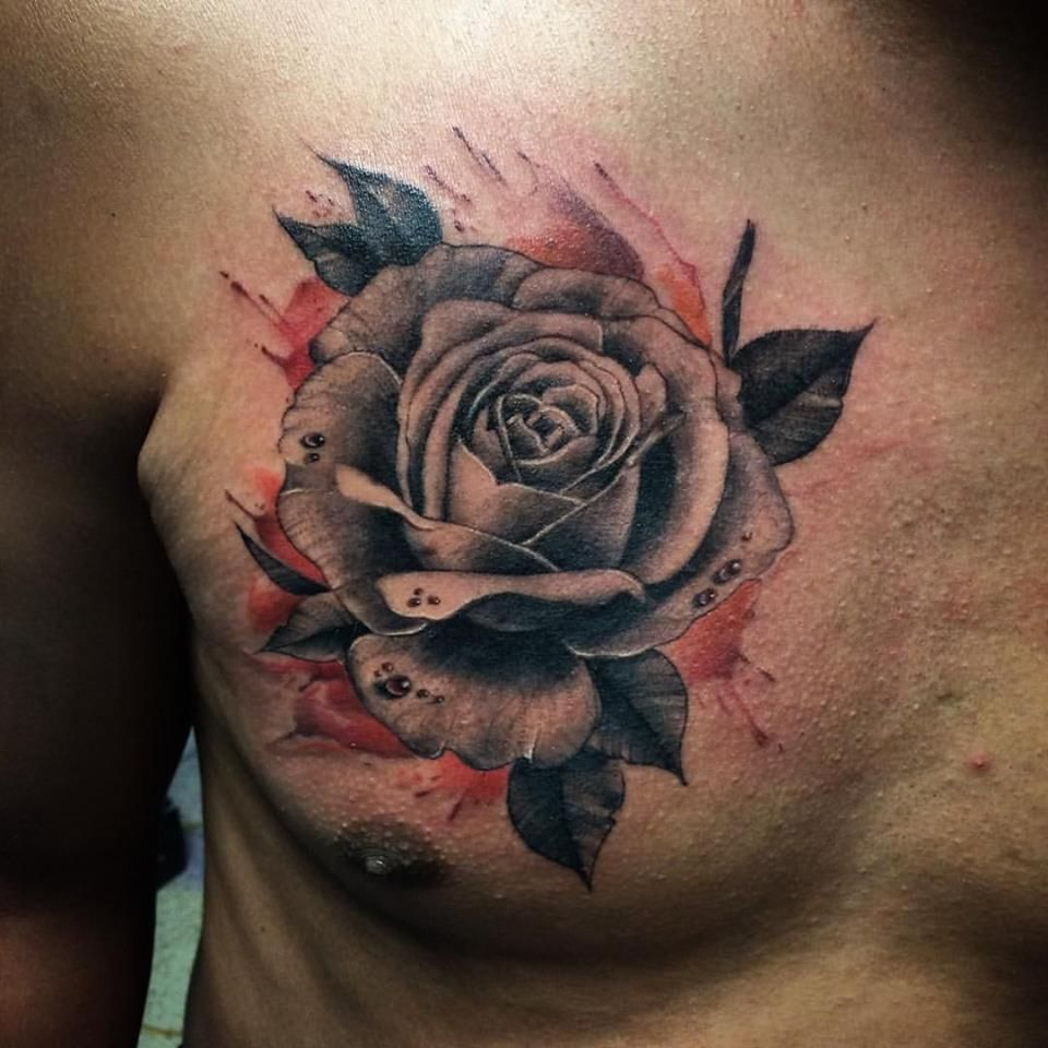 Black Rose Tattoos For Men On Chest Amazing black & grey