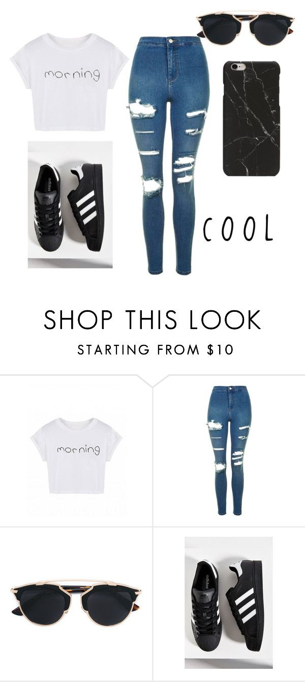 """""""S U P E R"""" by vssxph on Polyvore featuring Topshop, Christian Dior and adidas"""