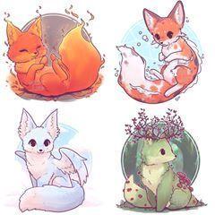 Alle Vier Von Kawaii Kunst Dessin Animaux