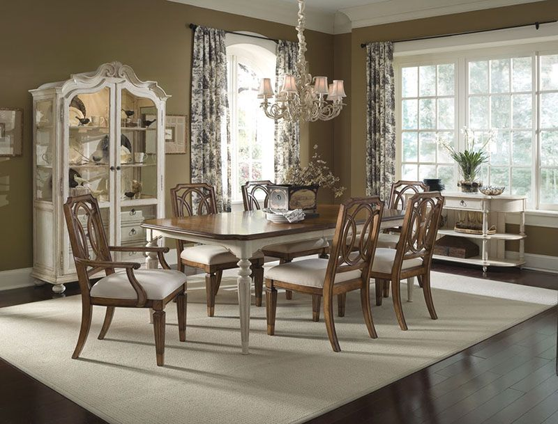 A R T Furniture S Provenance Collection Dining Table Arm And Side Chair Display Cabinet And Entertainm Dining Table Rectangle Dining Table Dining Room Sets