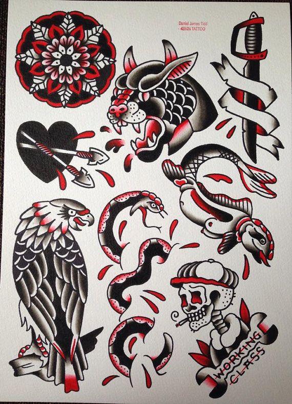 Tatuaje Americano Tradicional black and red original watercolour traditional tattoo flash painting