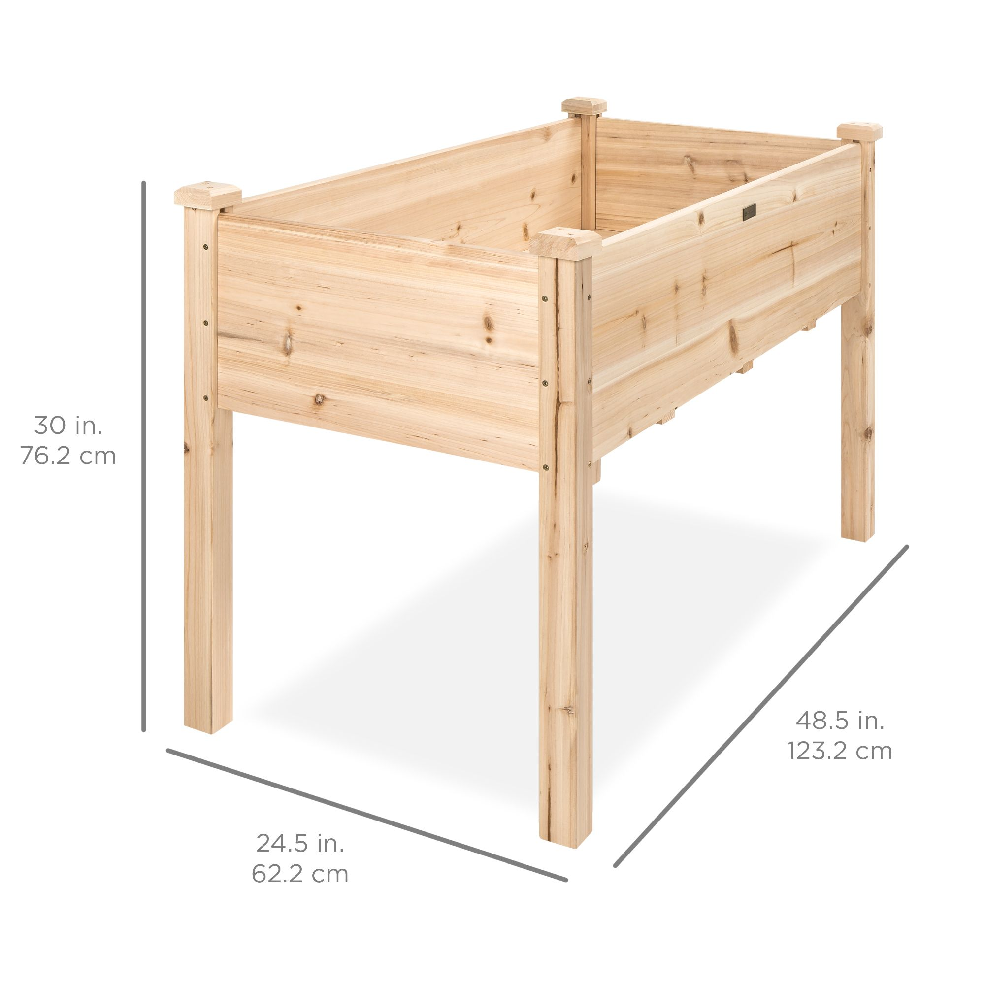 Best Choice Products 48x24x30in Elevated Wood Planter Garden Bed Box Stand for Backyard, Patio - Natural - Walmart.com