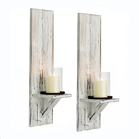 Rustic White Farmhouse Sconces Set Of 2 In 2019 Farmhouse