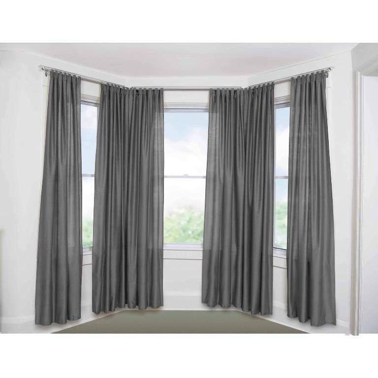 Furniture Pleasing Continuous Curtain Rod For Bay Window Also