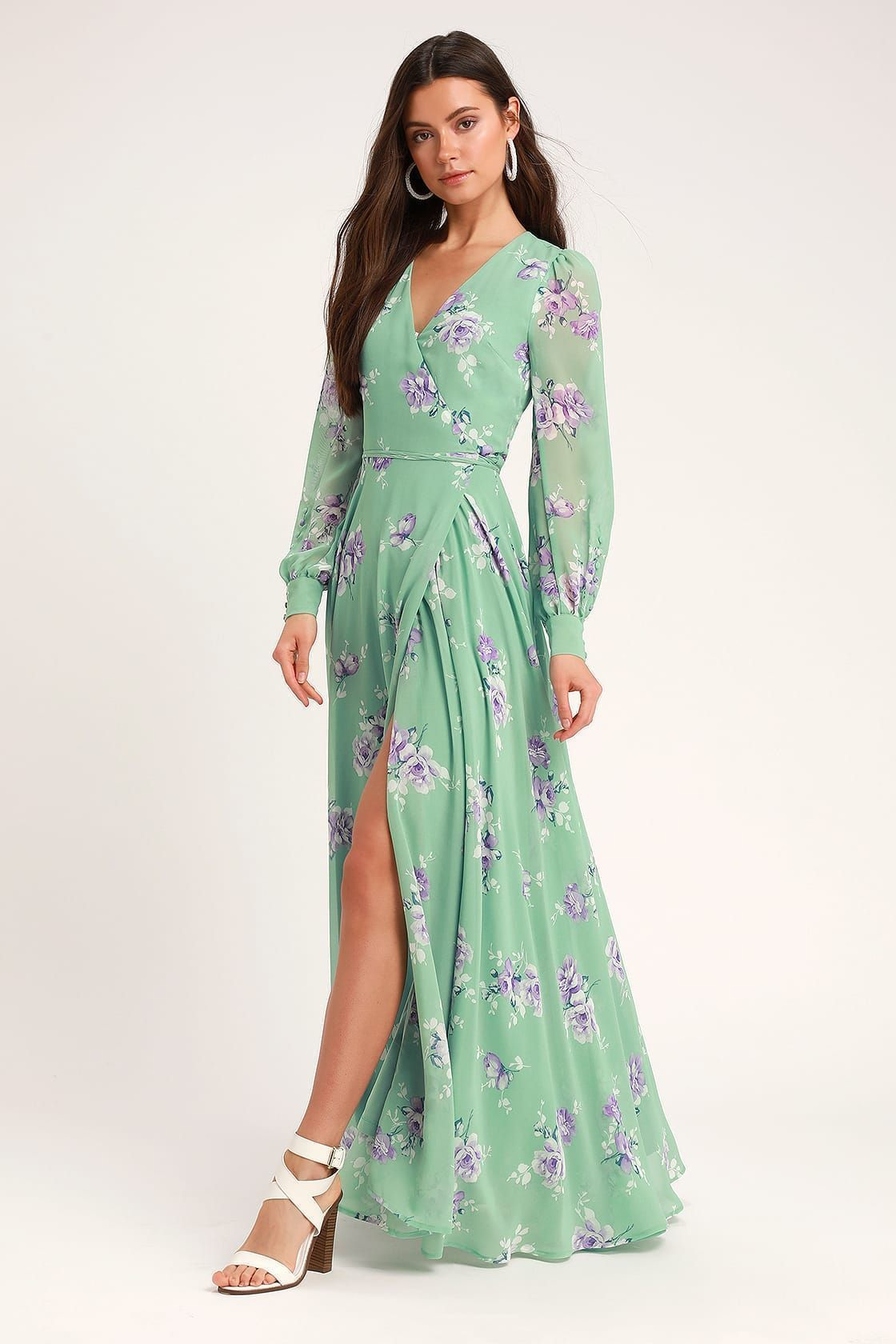 Sage Green Floral Printed Wrap Dress