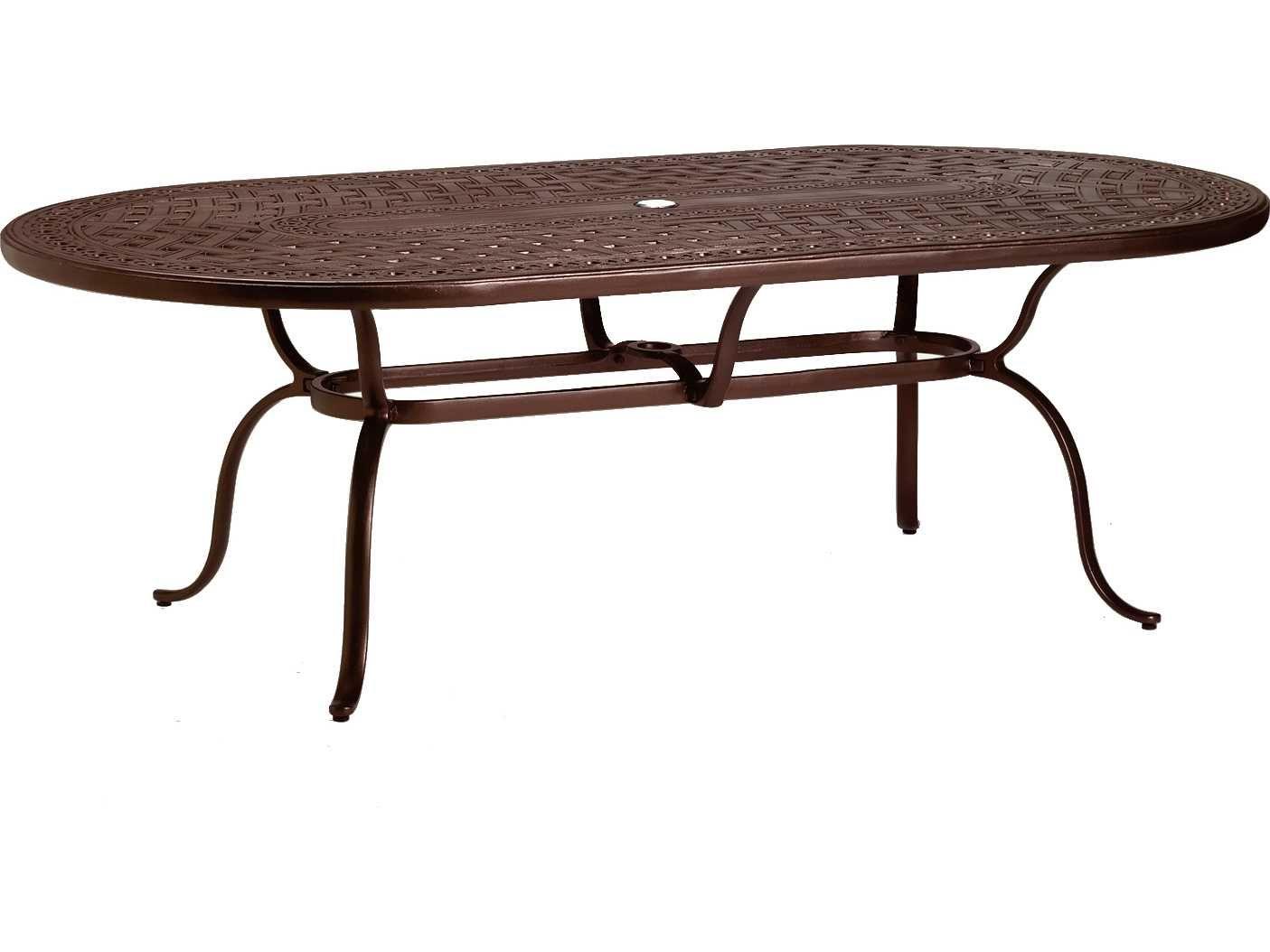 Tropitone Cast Kd Garden Terrace Aluminum 85 Wide X 43 D Oval Dining Table With Umbrella Hole Outdoor Dinning Table Metal Dining Table Dining Table Sizes [ jpg ]