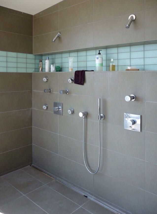 Glass subway and slate tile Bathroom Remodel Pinterest Slate