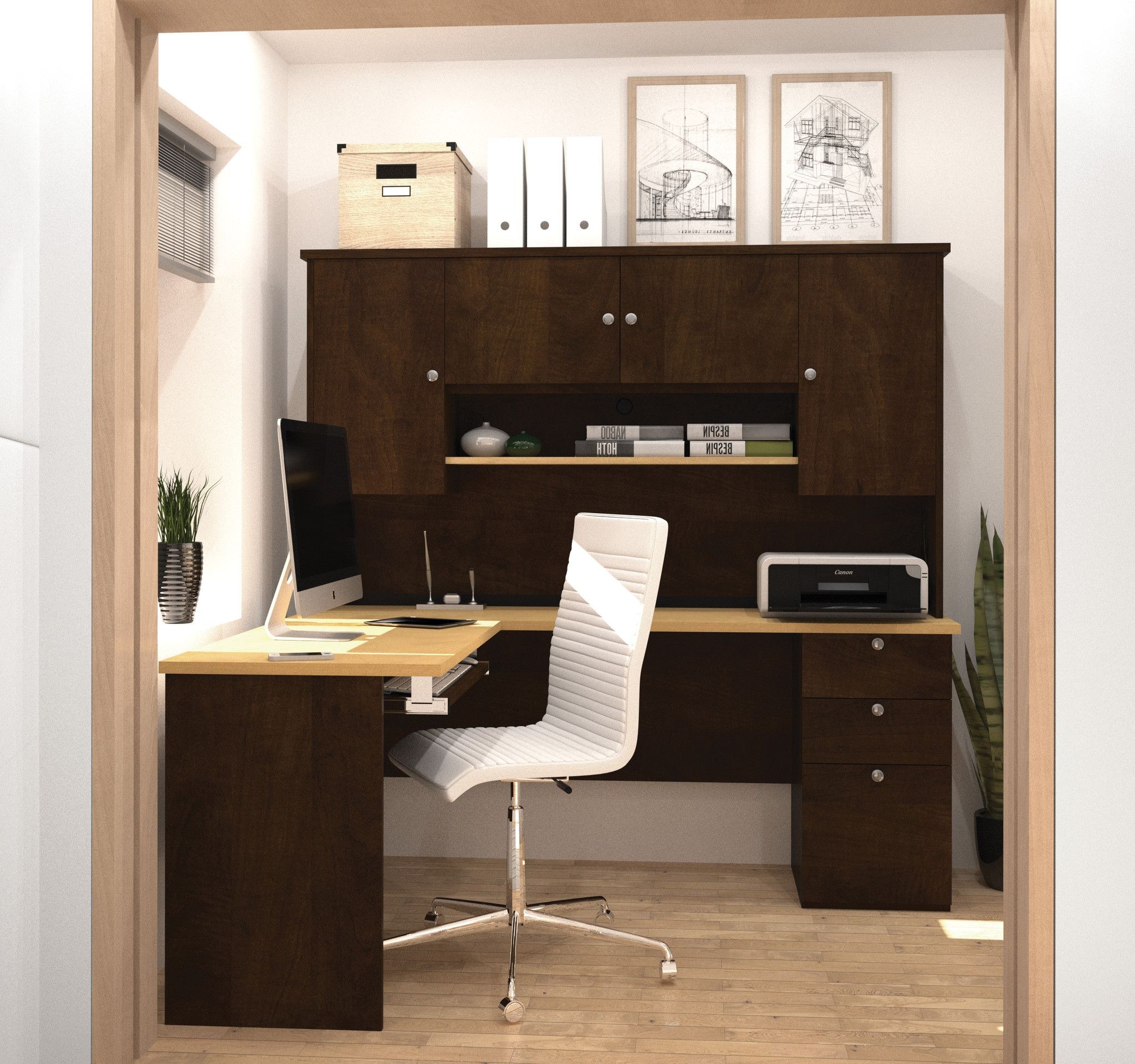 Chocolate & Maple 71″ x 59″ L-shaped Desk with Hutch