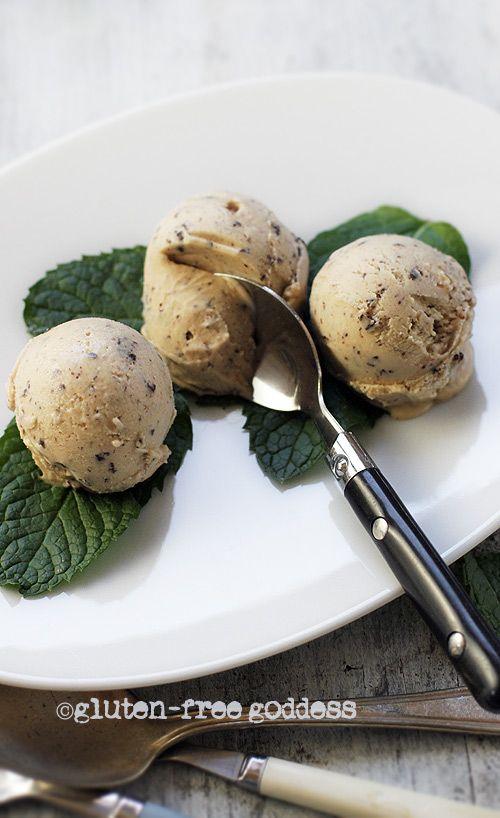 Creamy peanut butter ice cream with dark chocolate shavings