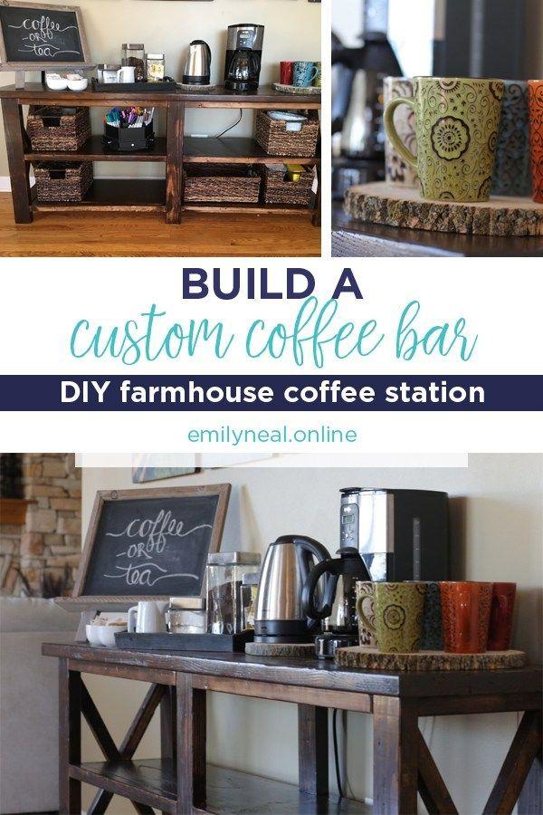Build a DIY farmhouse style coffee bar for your home