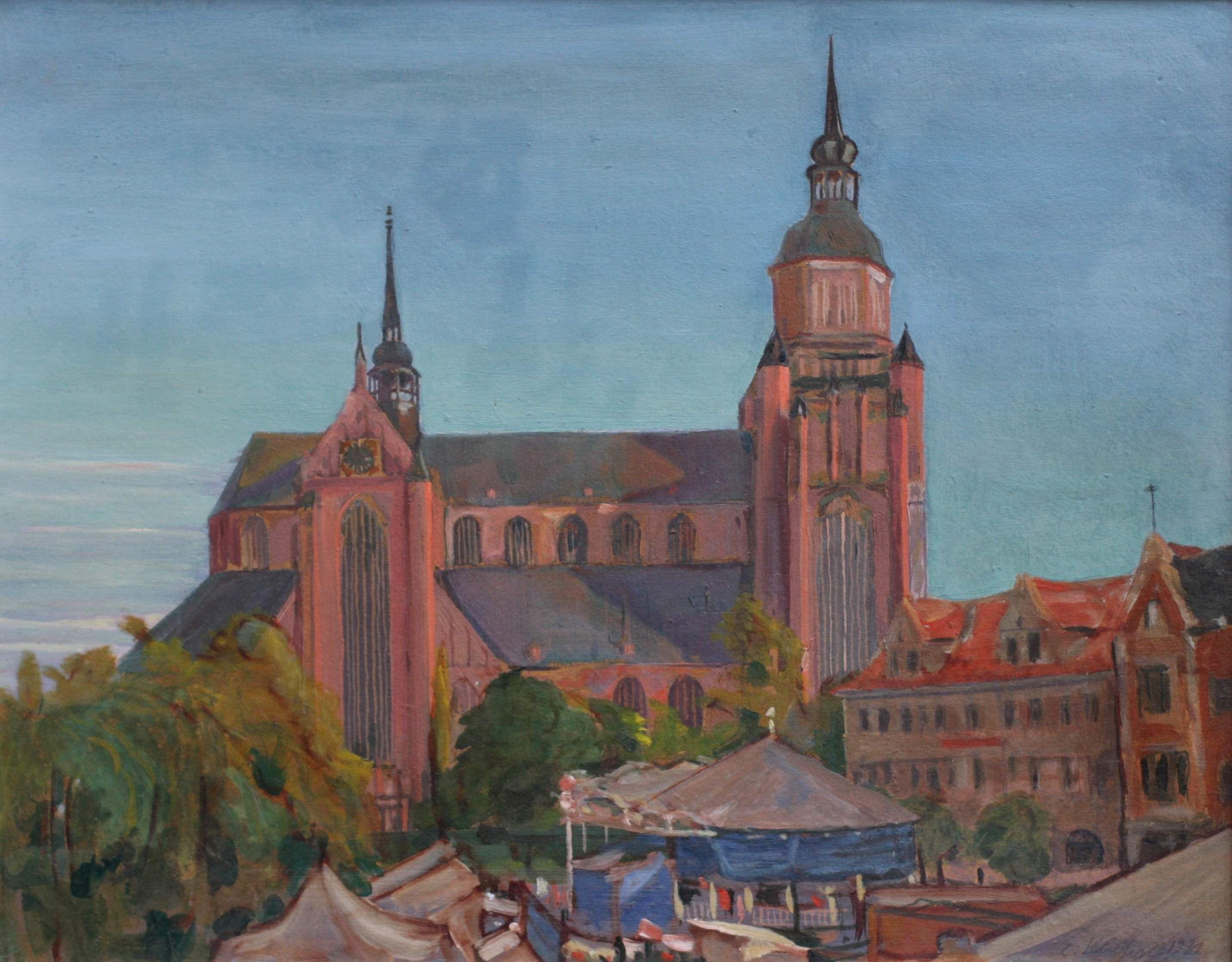 """Kliefert, Erich (1893 Berlin – 1994 Stralsund) """"Jahrmarkt vor der Stralsunder Marienkirche"""""""