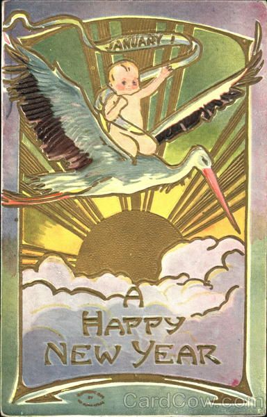 Stork Baby A Happy New Year Vintage Happy New Year Happy New Year Baby Christmas Ephemera