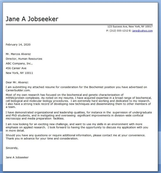 Changing Industries Cover Letter: Biochemistry Cover Letter Example