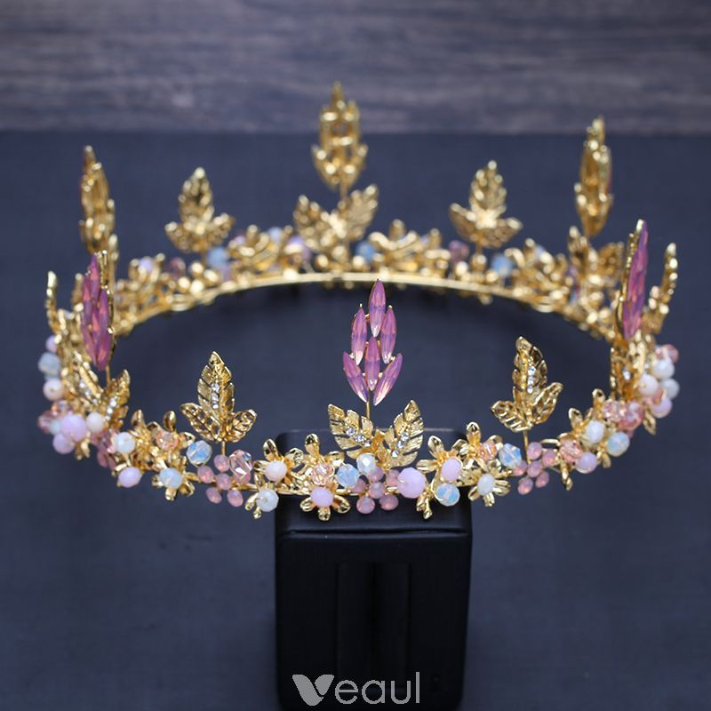 Chic Beautiful Candy Pink Crystal Gold Leaf Tiara 2018