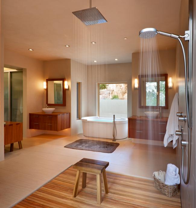 holz boden und decke modern interieur, modernes bad mit holz - 27 ideen für möbel, boden, wand & decke, Design ideen