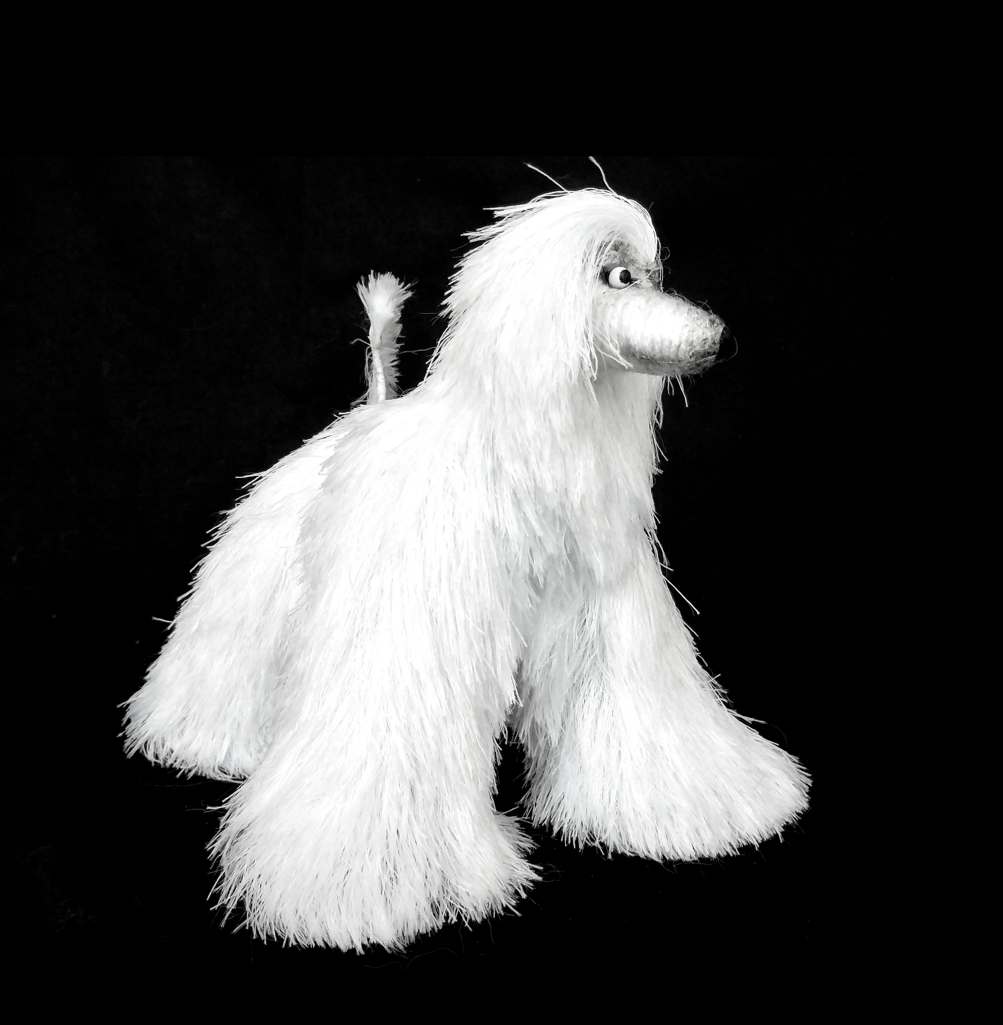 Miniature Toys, Snow White Afghan Hound, dog figurine, Stuffed Animal, Fun Plush Toy, Movable Figurine Dog, Cute Toy, Mini Toy, OOAK Artist,
