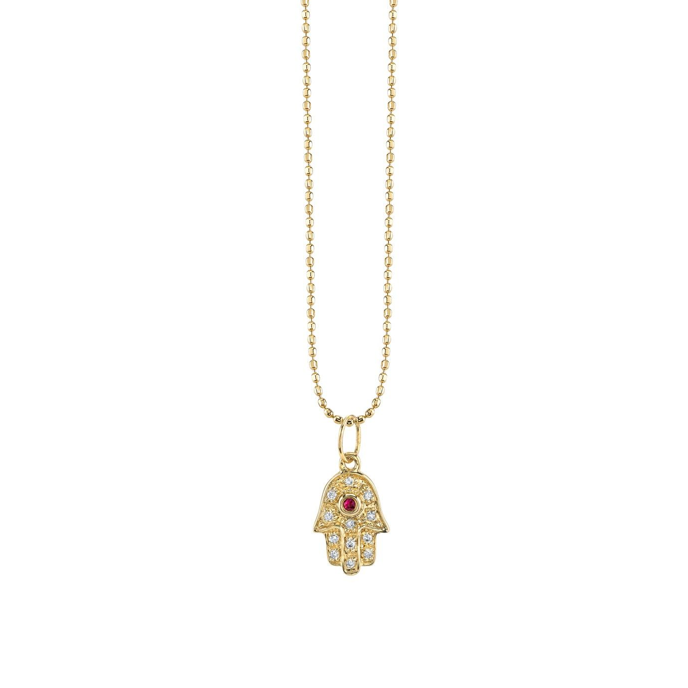 Mini yellowgold hamsa necklace with ruby u diamonds necklaces