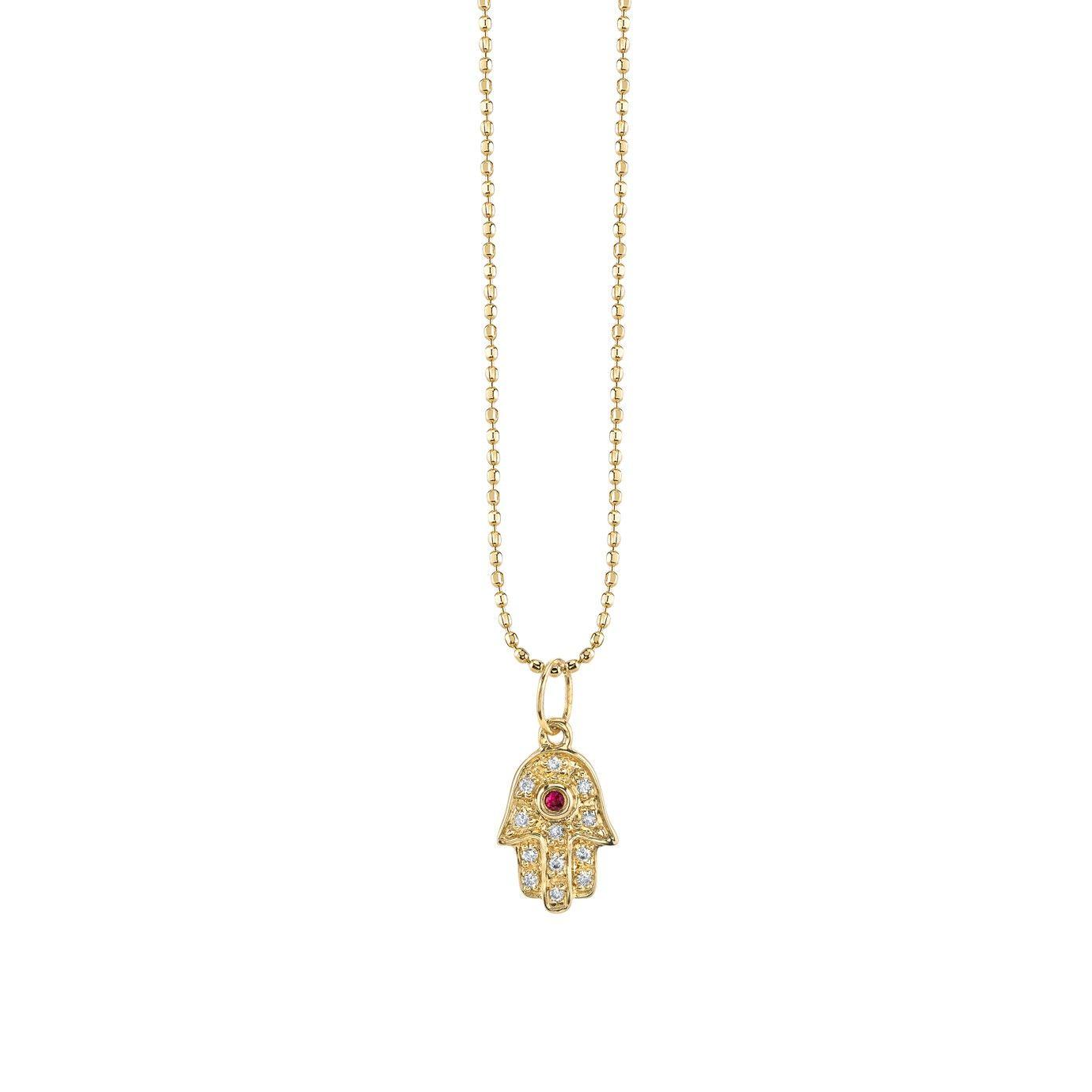 Mini yellowgold hamsa necklace with ruby u diamonds necklaces