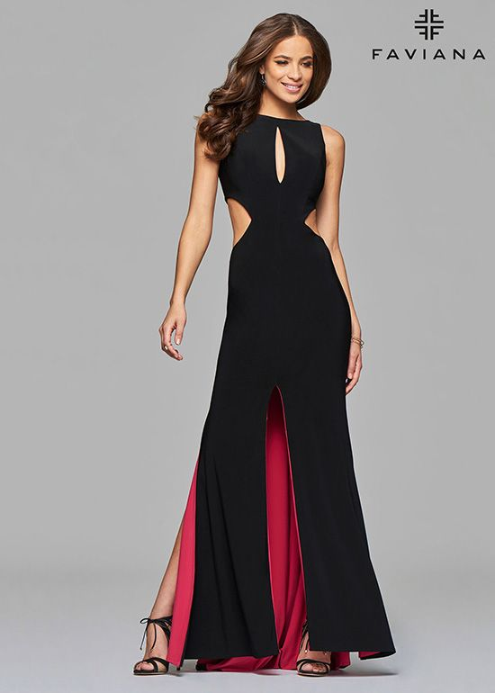 463add27f48 Faviana 7897 Modern Evening Gown With Contrast Lining   Ball Fly in ...