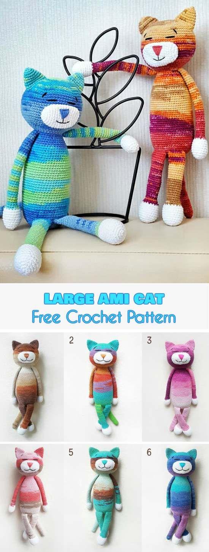 Large Ami Cat [Free Crochet Pattern] | Tejido, Ganchillo y Patrones ...