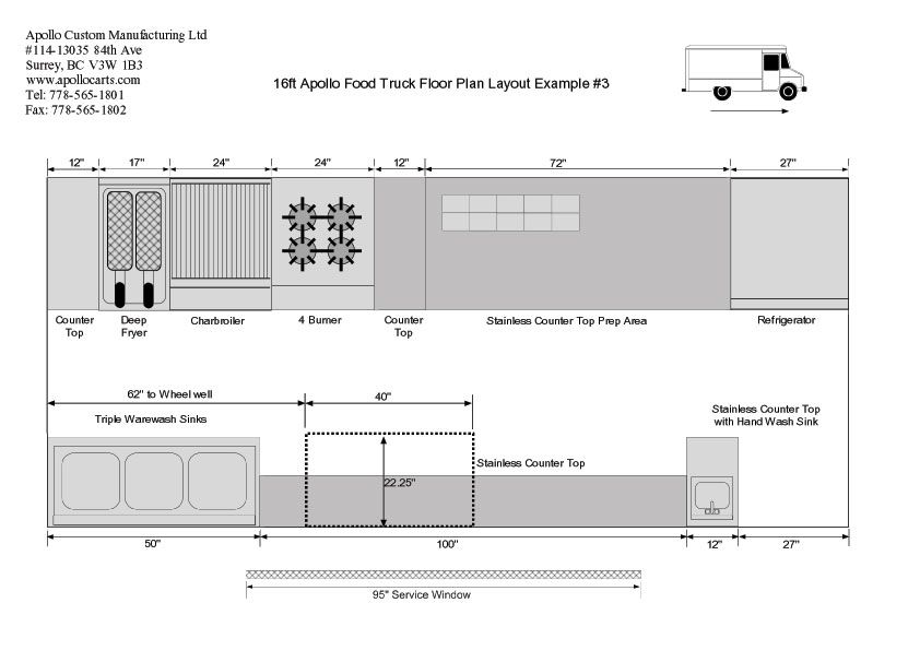 16ft-food-truck-floor-plan-3Bjpg (842×595) Business Pinterest - food truck business plan