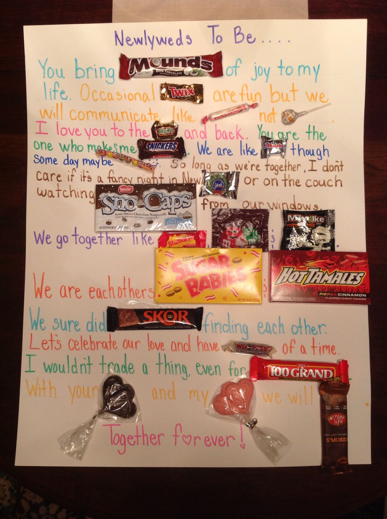 I just made this candy bar note/poem for friends' engagement party ...