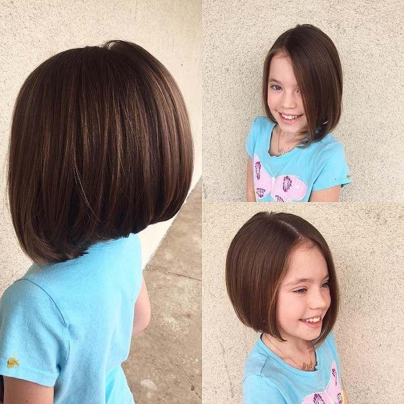 carré pour petite fille sur cheveux bruns épais | Cheveux courts fille, Carré plongeant petite ...