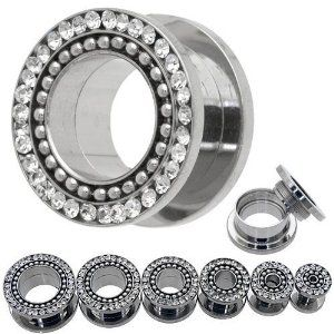 Amazon.com: Surgical Steel 316l with Clear Cz Stones and Ball Rim Screw-on Fit Gauges/plugs/tunnels Nickle Free (1 Pair) Different Sizes Available (00g (9.5mm)): Jewelry