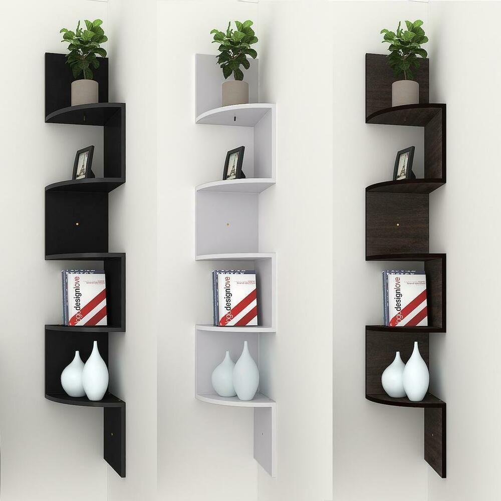 Details About Modern 5 Tier Corner Floating Shelves Wall Mount